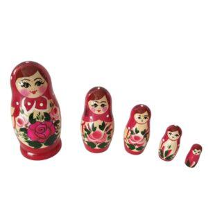 Ruska matrjoska Malinca 5 lutk v temno roza obleki